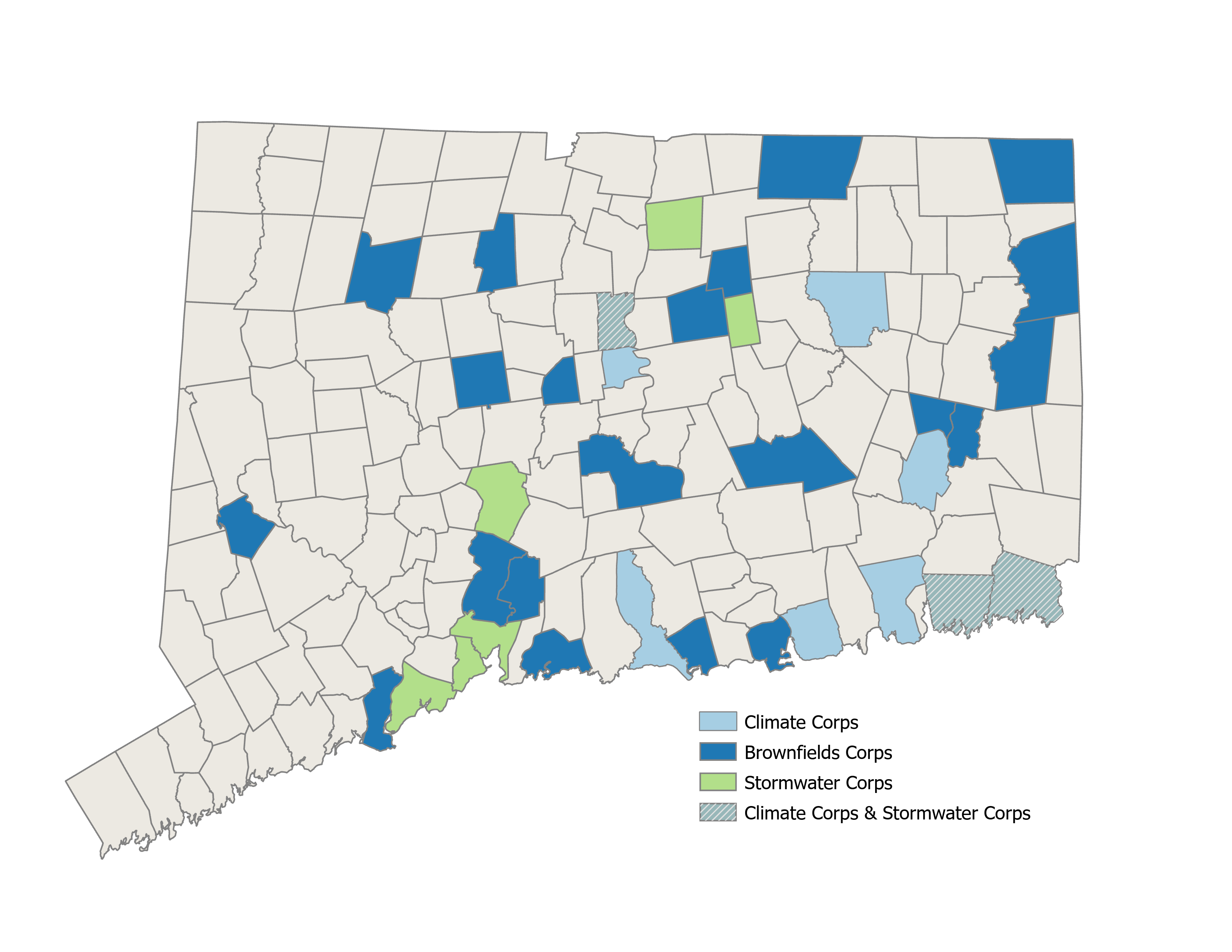 E-Corps participating towns map
